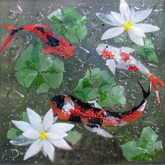 Koi designer glass mosaics for Koi pond glass