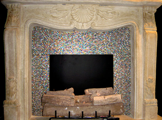 Artistic designs in hand-crafted mosaic and fused glass tile to cover a fireplace surround. Each project is custom to client colors