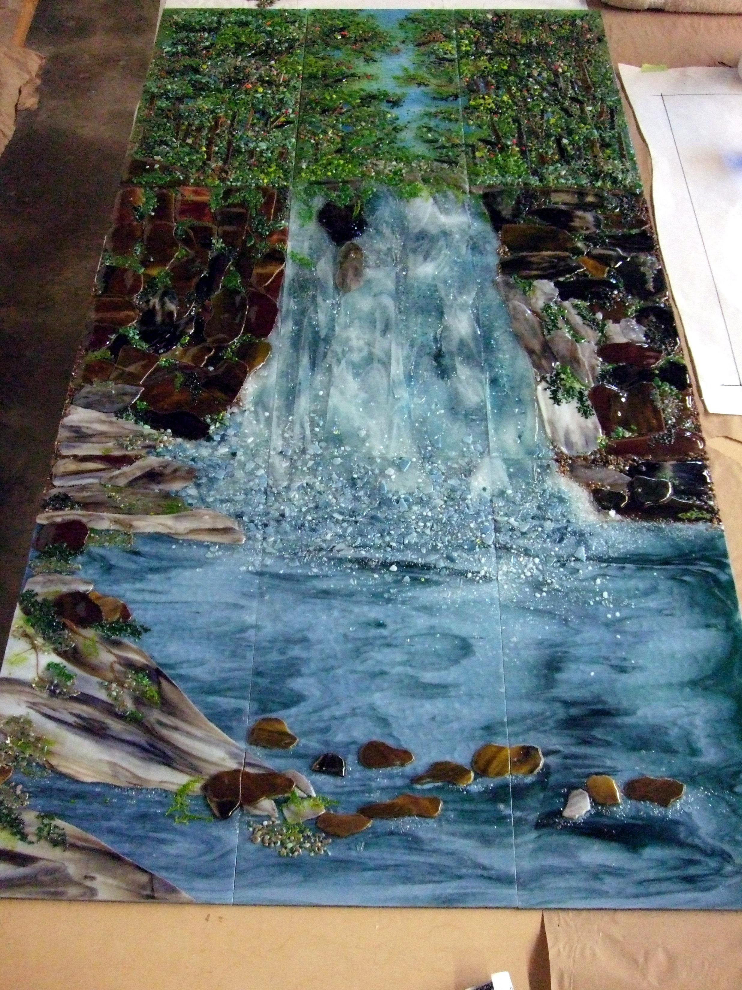 Waterfall Scene Designer Glass Mosaics
