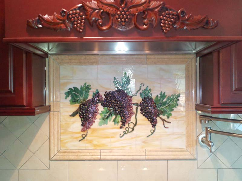 "Fused Glass ""Grapes & Vines"" Kitchen Backsplash"