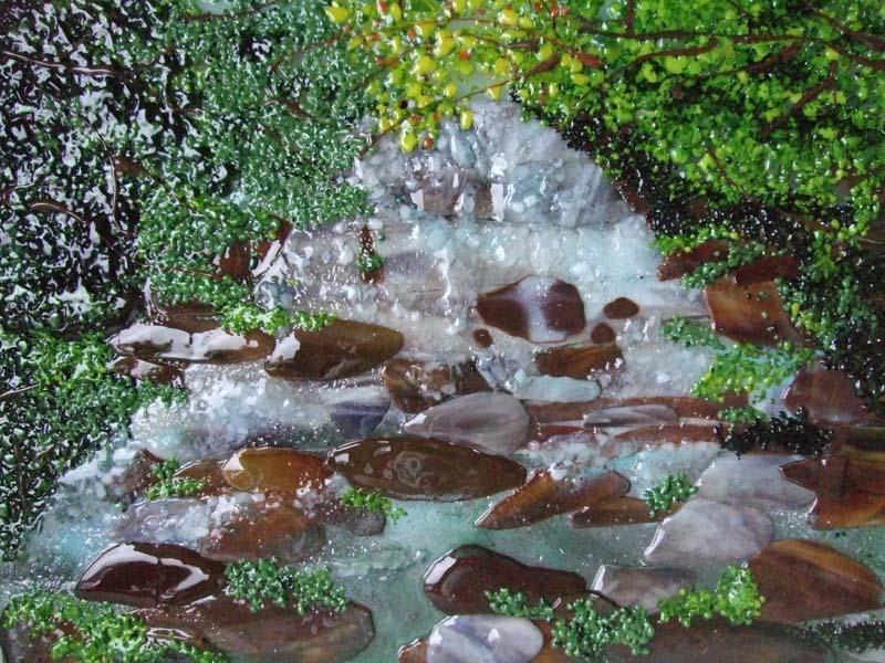 Fused Glass Mural (Waterfall Scene)