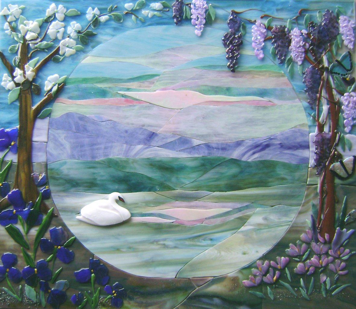 "Glass Mural ""Swan Lake"""