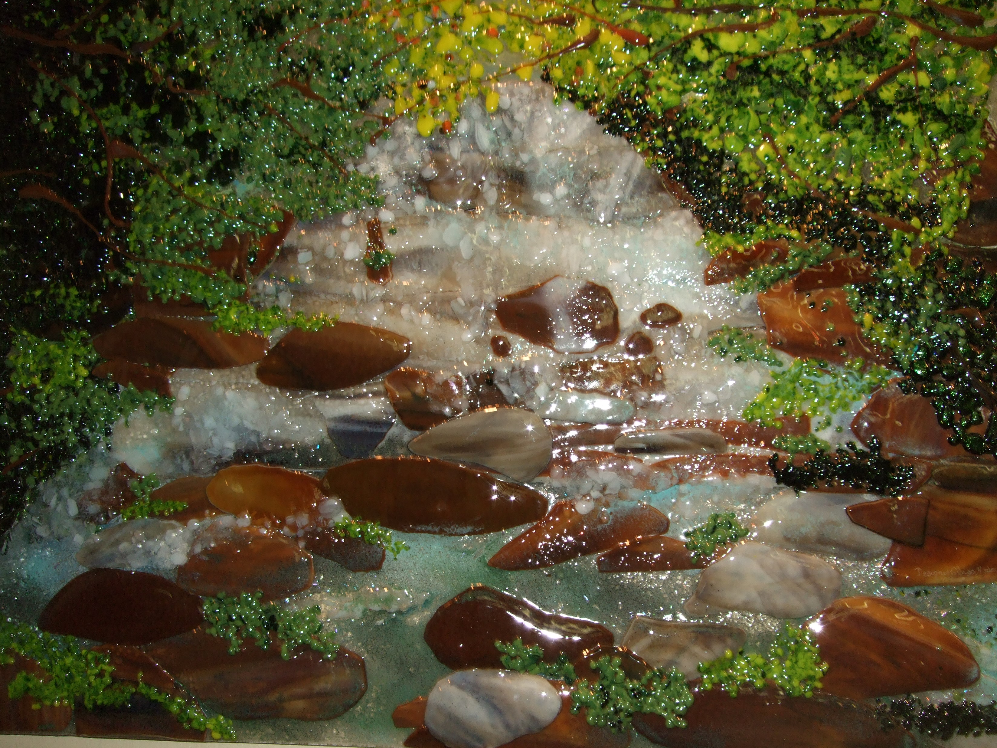 Mountain Waterfall Scene Designer Glass Mosaics