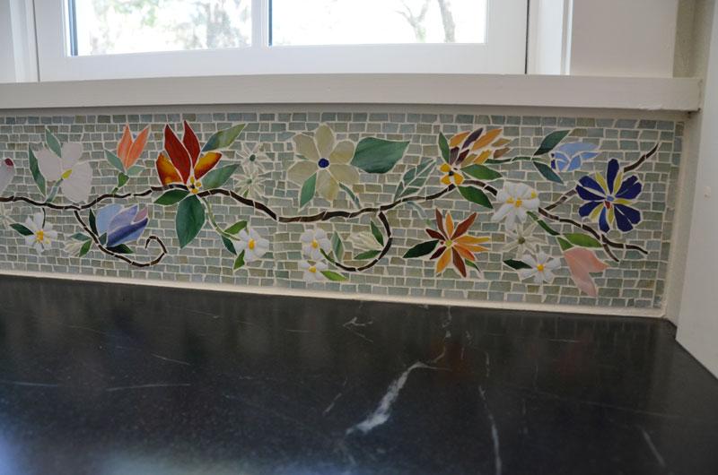 Mosaic Border Tiles >> Floral Mosaic Border for Kitchen | Designer Glass Mosaics