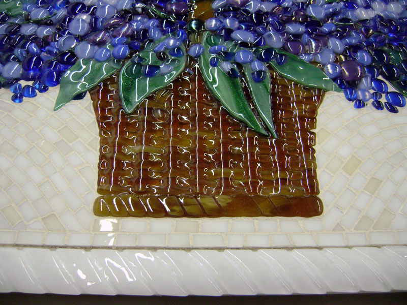 We Created This Custom Fused Glass Backsplash Art Piece For Our Client In Arizona The Basket Of Hydrangeas Is Fused Glass In Colorings Of Blues And