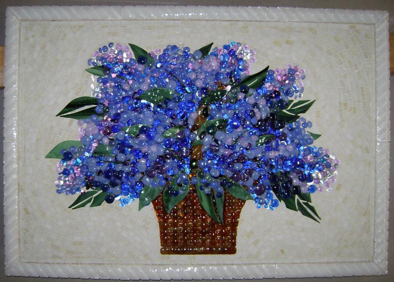 Fused Glass Floral Backsplash Blue Hydrangea