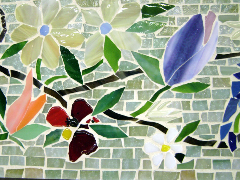 Mosaic Border Tiles in Floral Motif  Designer Glass ...