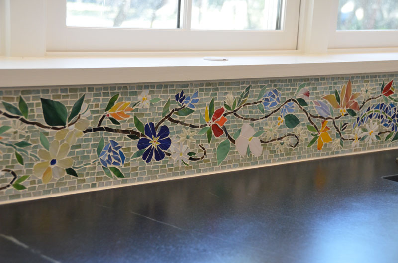 Floral Mosaic Border For Kitchen on tuscan fireplace design ideas