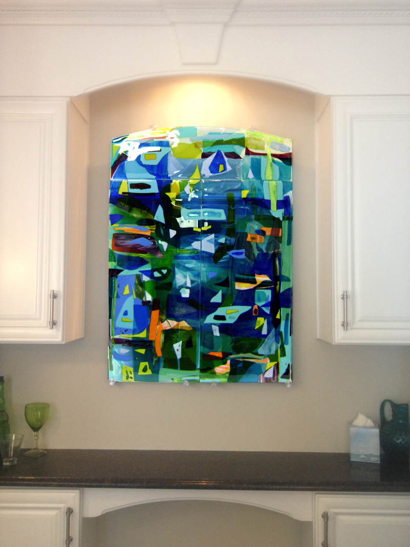 Wall art contemporary glass : Colorful fused glass wall art panel designer