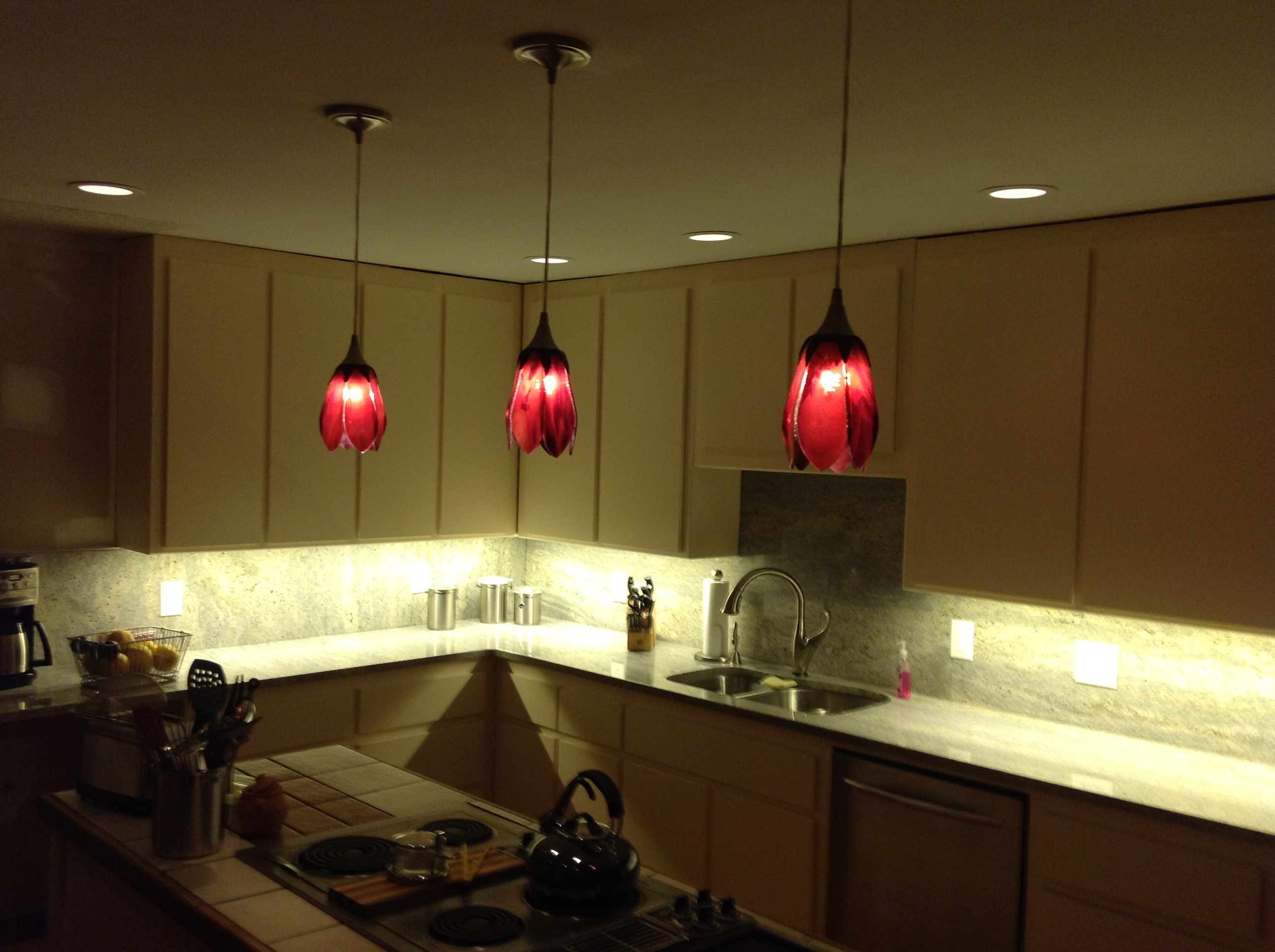 Cranberry Tulip Pendant Lights Designer Glass Mosaics