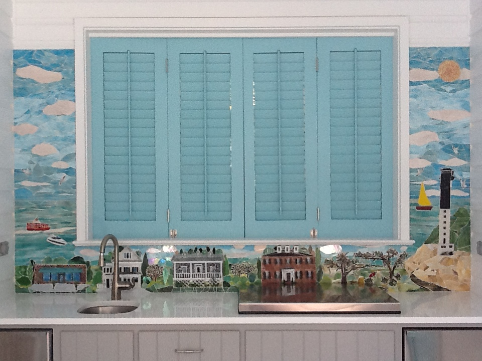 Mosaic and Fused Glass Mural (Charleston Scene)