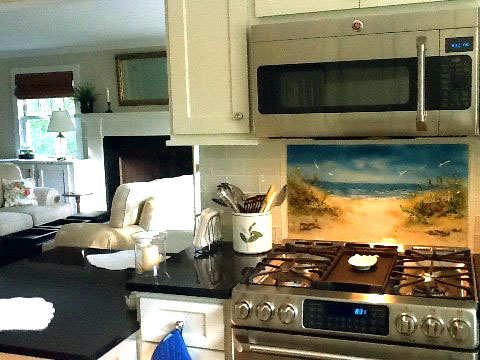Fused Glass Beach Scene Kitchen Backsplash