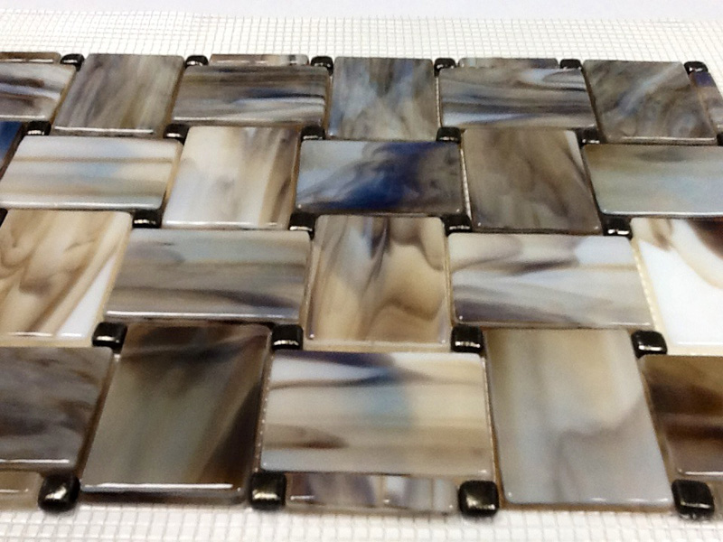 Fused Glass Basketweave Tile