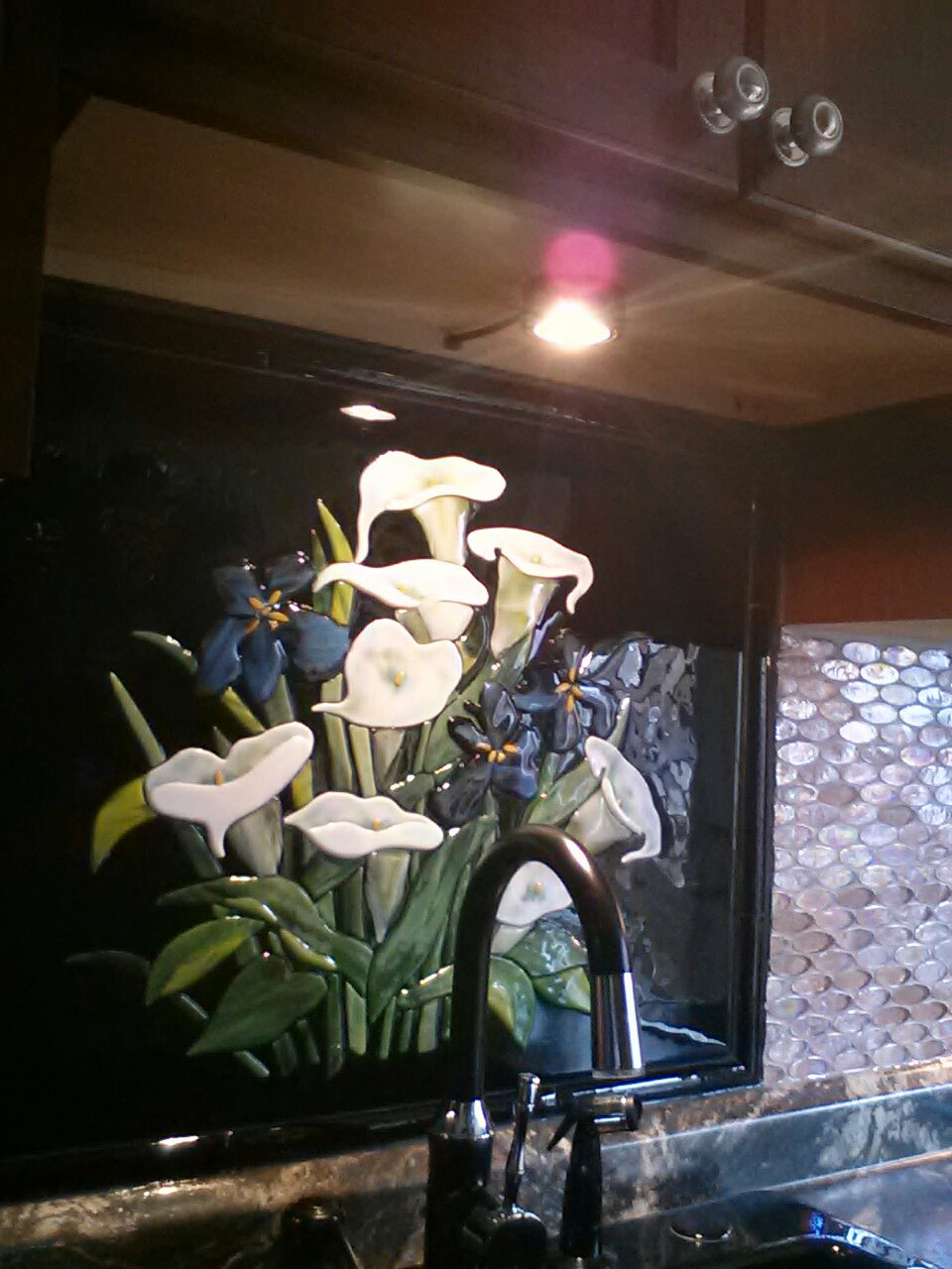 Fused Glass Calla Lilies And Irises Kitchen Backsplash