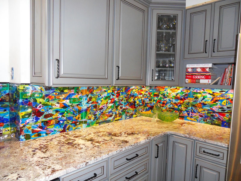 Attirant Colorful Abstract Kitchen Backsplash