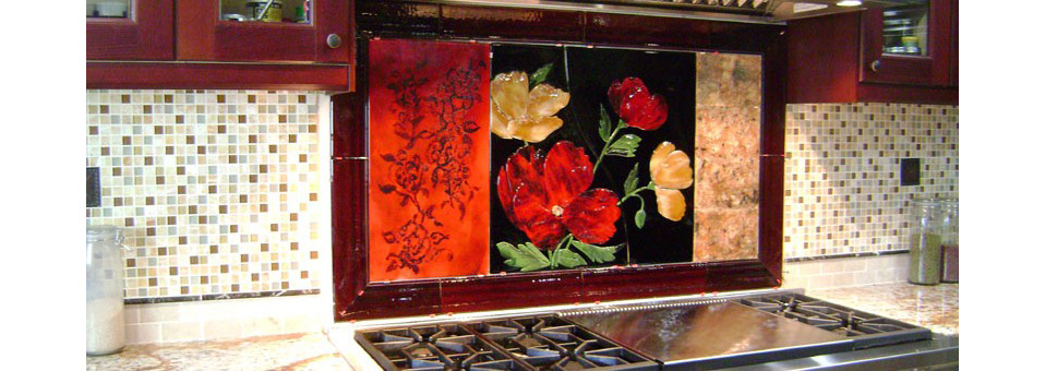 Large Red Floral Kitchen Backsplash