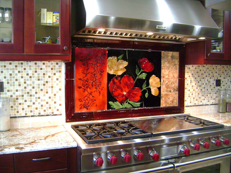 Large Red Floral Kitchen Backsplash Designer Glass Mosaics