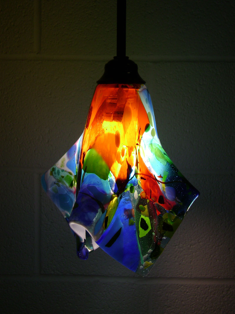 Custom Hand Crafted Fused Glass Pendant Lights And Sconces