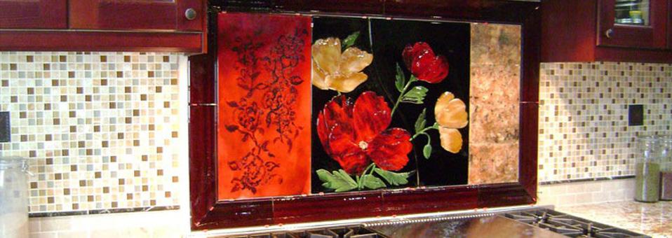 Large Red Floral Kitchen Backsplash