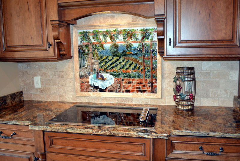 Italian Vineyard Theme Fused Glass Kitchen Backsplash Designer Glass Mosaics