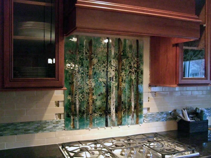 kitchen backsplash fused glass abstract trees designer glass