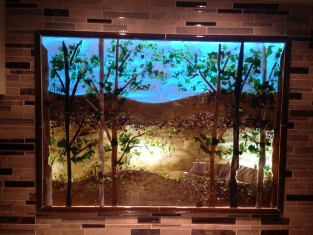 Backlit Kitchen Lake Scene Designer Glass Mosaics