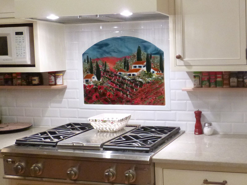fused glass kitchen backsplash vineyard and poppies designer glass