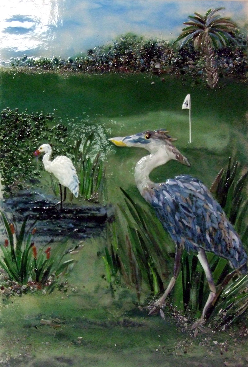 Fused Glass Wall Art Great Blue Heron Designer Glass