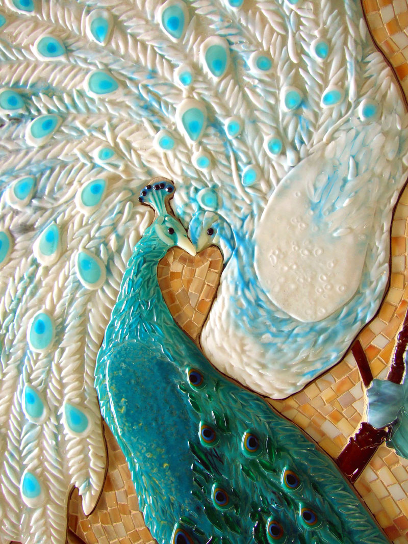 Mosaic and fused glass tile mural peacock lovers for Crossing the shallows tile mural