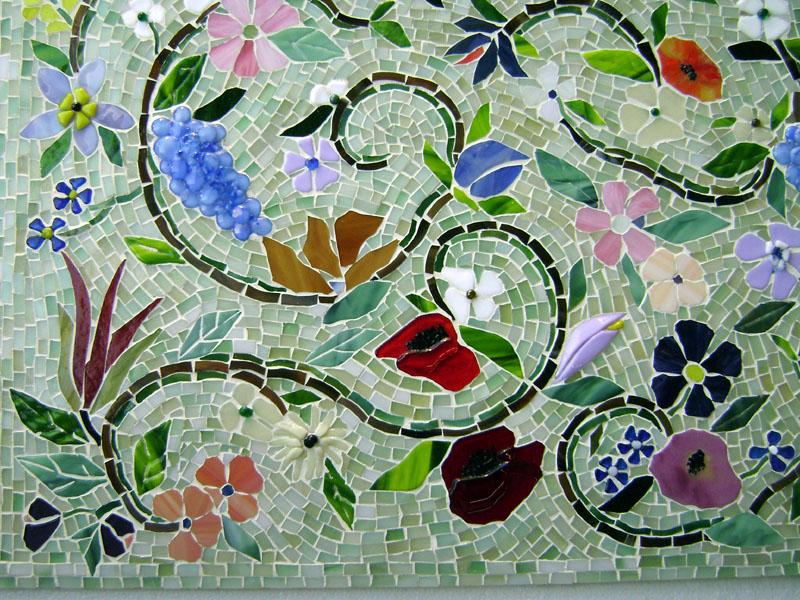 Glass Mosaic Floral Mural Designer Glass Mosaics