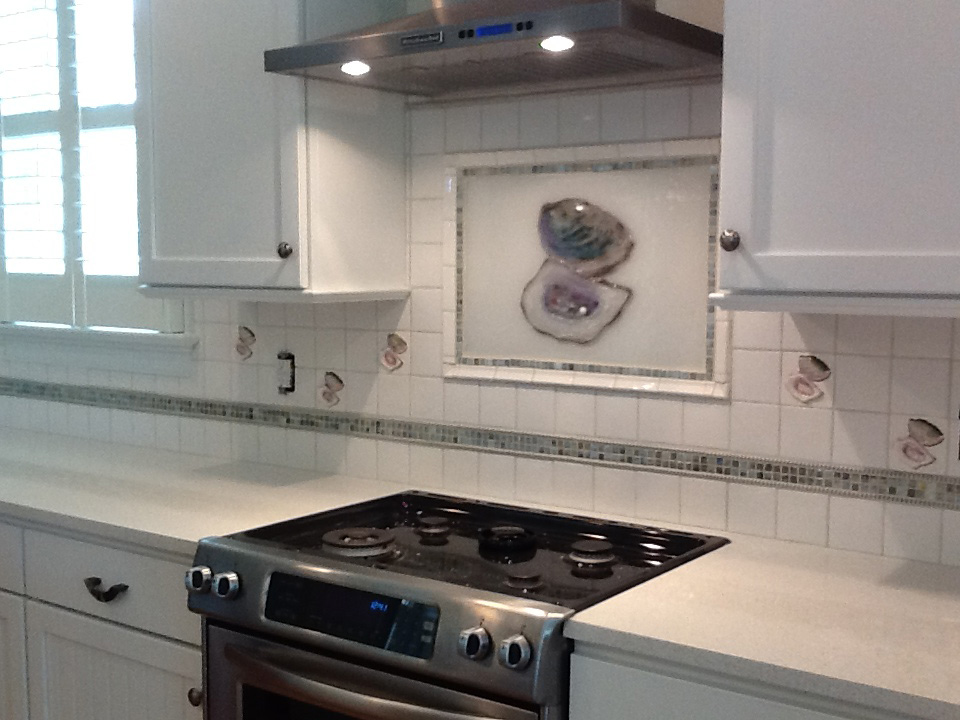 Oyster Kitchen Backsplash In Glass Designer Glass Mosaics