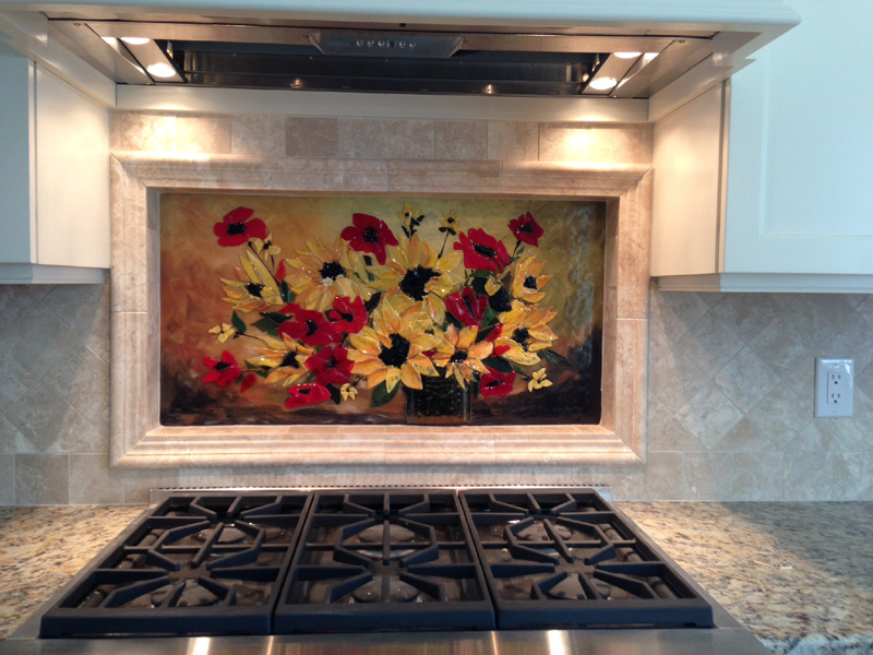 Fused Glass Floral Backsplash