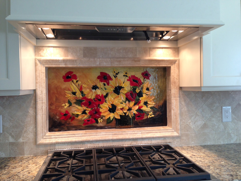 fused glass floral backsplash designer glass mosaics designer glass