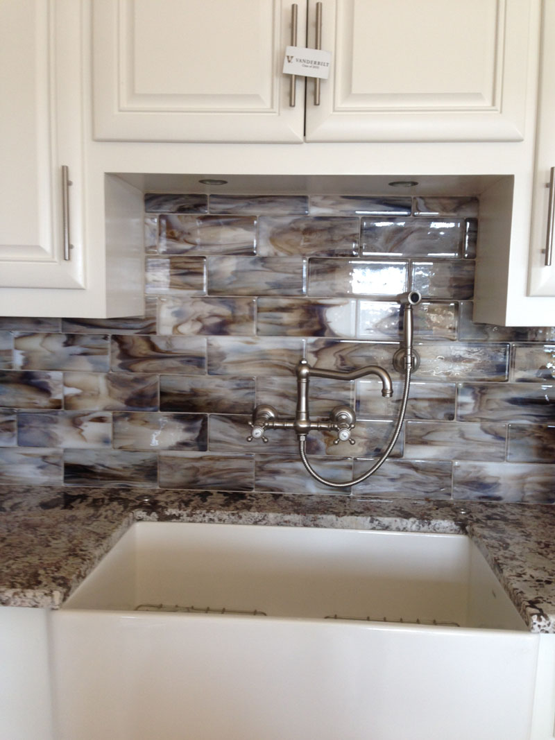 fused glass streaky brown subway tile for kitchen backsplash