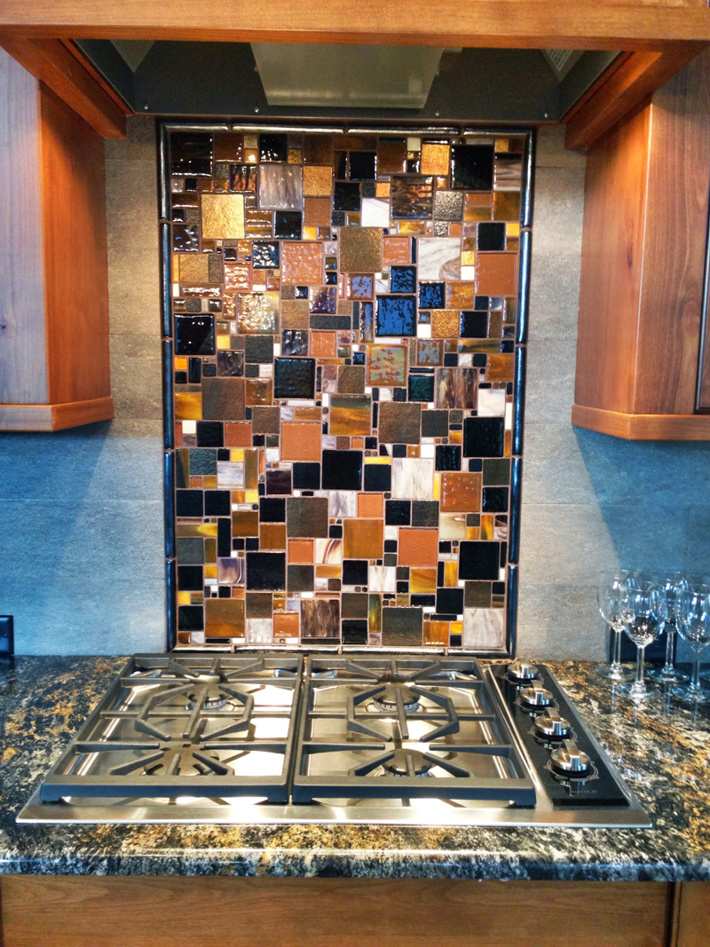 fused glass mosaic patchwork kitchen backsplash designer glass