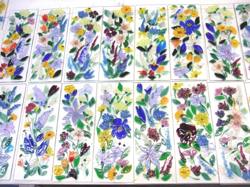 Fused Glass Floral Border Tiles