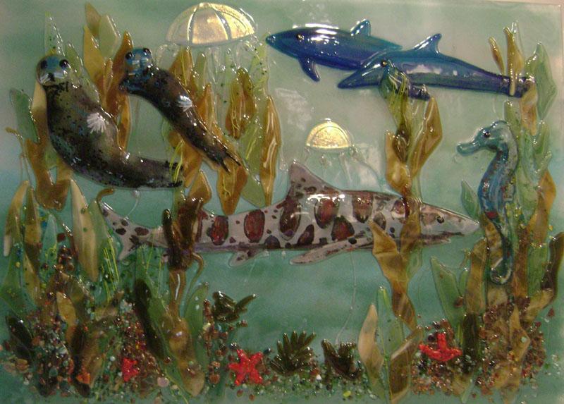 Fused Glass Murals Pacific Coast Underwater Scenes