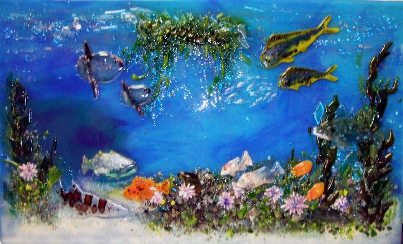 "Fused Glass ""Pacific Coast Underwater Scene"""