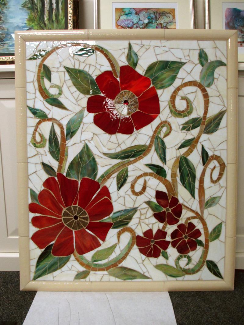 Large Red Floral Mosaic Mural Designer Glass Mosaics