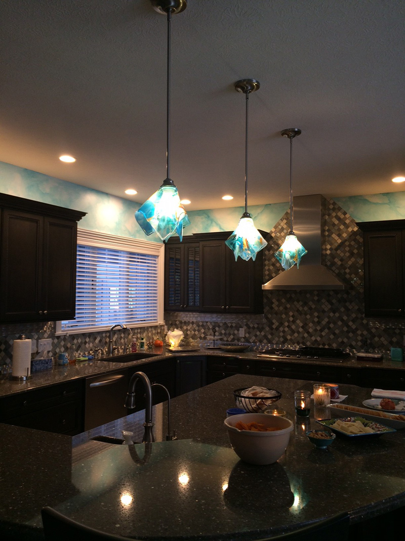Shades Of Blue Abstract Glass Pendant Light Designer Glass Mosaics