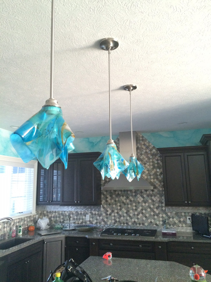 Shades Of Blue Abstract Glass Pendant Light Designer