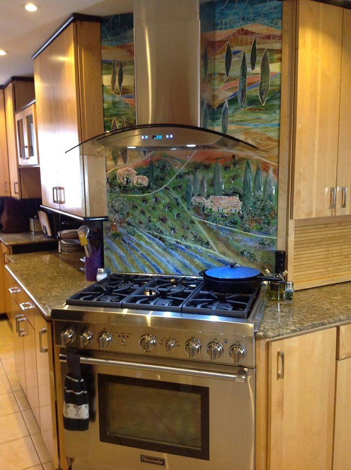 Glass Tuscan Mural For Kitchen Designer Glass Mosaics