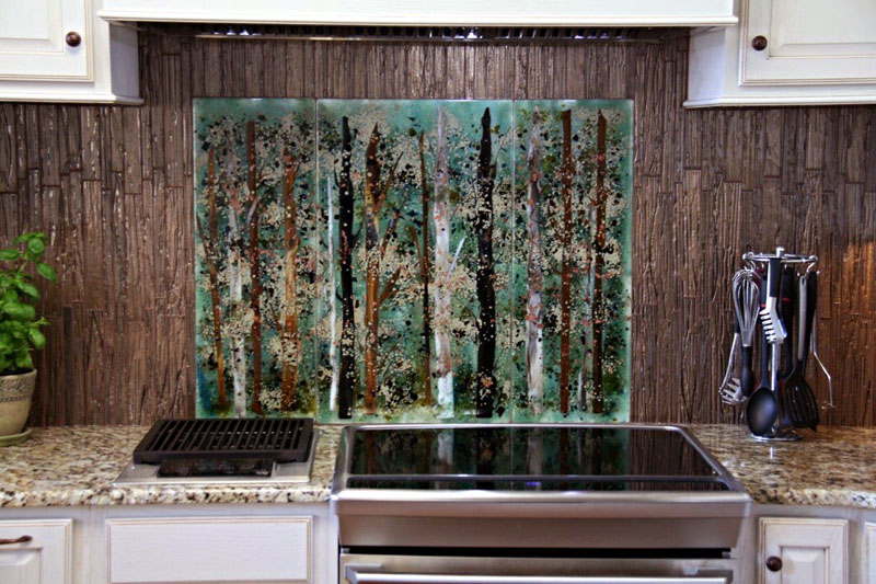 abstract tree mural in glass designer glass mosaics