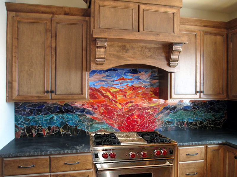 Glass Mosaic Sunset Mural