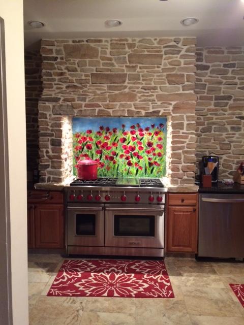 Beautiful Red Poppy Kitchen Backsplash