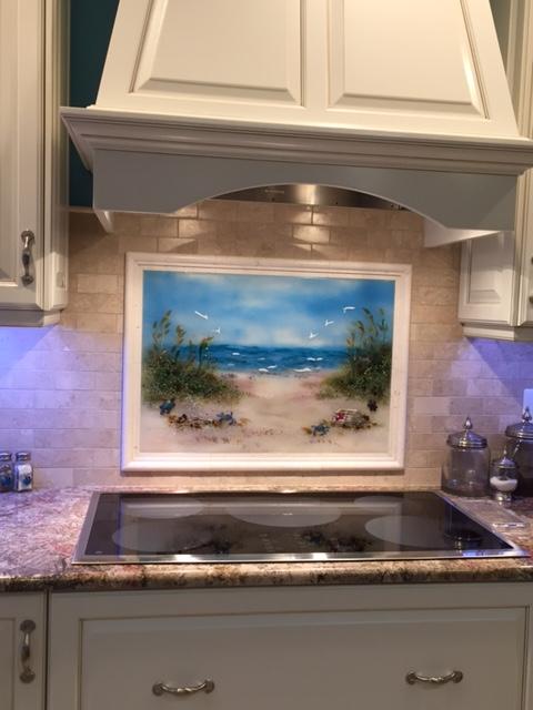 Fused Glass Beach Scene   Designer Glass Mosaics