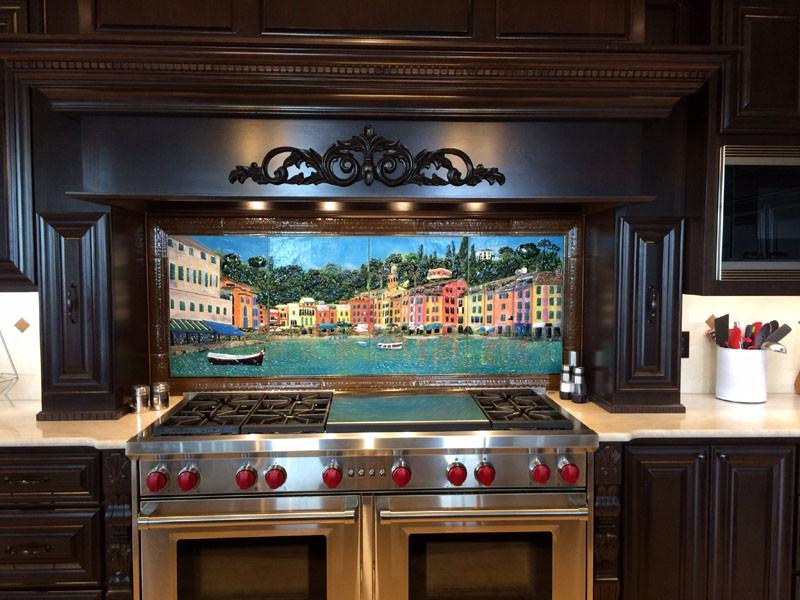Spanish Tile Backsplash >> Portofino, Italy Mural in Glass | Designer Glass Mosaics