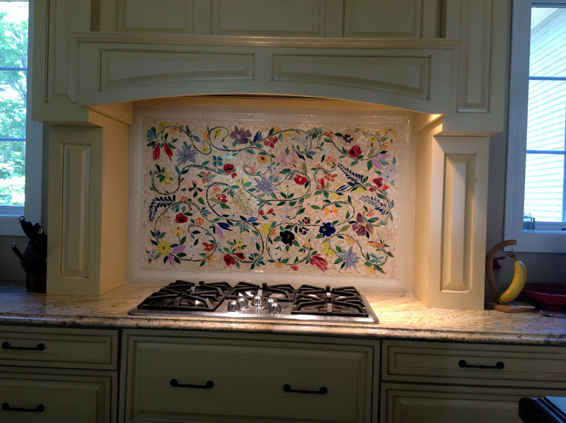 kitchen murals backsplash glass mosaic floral mural designer glass mosaics 13697