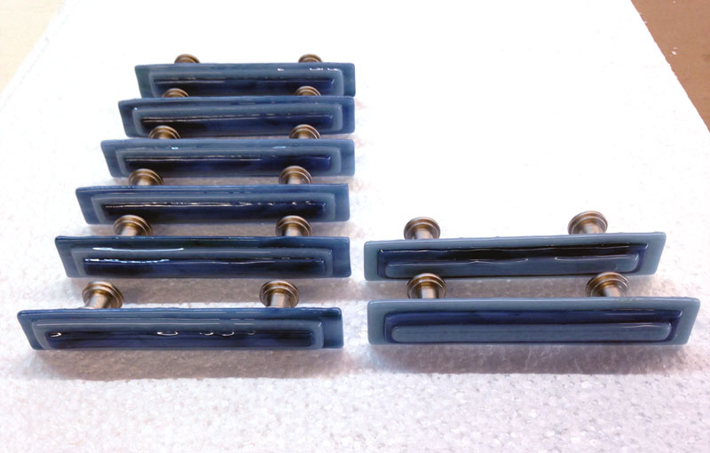 Blue Stack Glass Cabinet Pulls