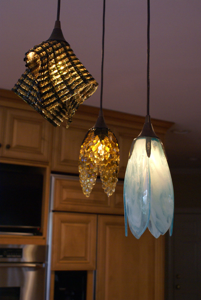 Trio Of Fused Glass Pendant Lights Designer Glass Mosaics